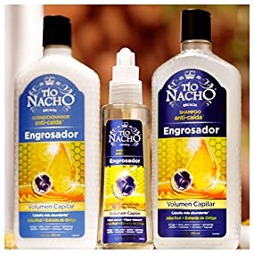 tío nacho, engrosador, shampoo, acondicionador, capilgross, volumen, jalea real, cabello, pelo