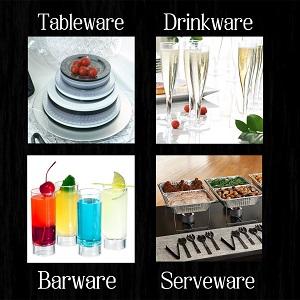 plastic;plates;glasses;cups;shots;buffet;chaffing dish;pans