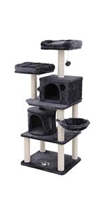 FEANDREA Ãrbol para Gatos Grande Rascador con Caseta Plataformas Grande Cesta Postes Recubiertos por Cuerda de Sisal Antracita PCT17G: Amazon.es: Productos ...