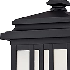 Oil rubbed bronze finish, stepped lantern top, linear details.