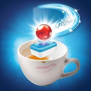 Entfernt Flecken wie Kaffee und Tee