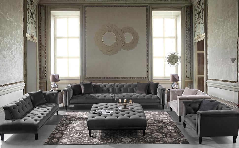 Acanva Luxury Vintage Tufted Velvet Living Room Family Sofa, Chaise, Dark gray