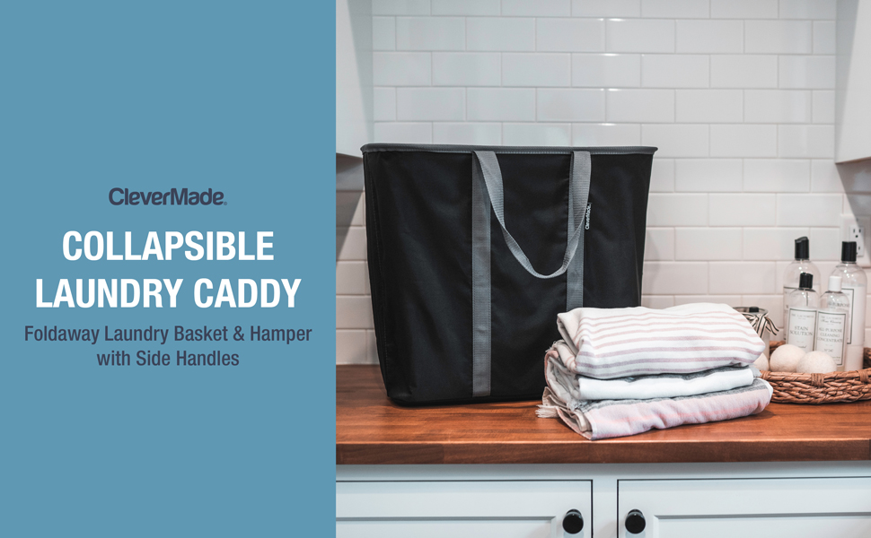 Foldaway laundry basket and hamper with side handles