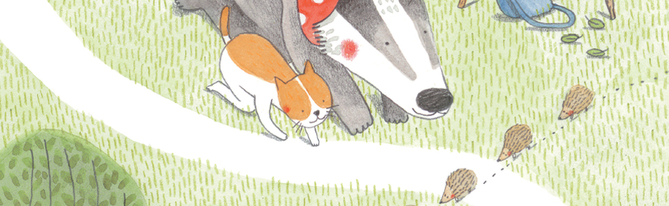 Lulu and Mrs. Badger watch a family of hedgehogs cross the path