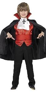 Smiffys Disfraz de drácula para niño, con capa, fajín, corbanda y ...