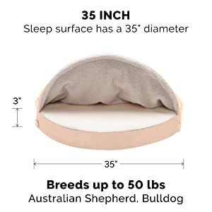 large; furhaven; dog; cat; pet; bed; oval; circle; round; snuggery; blanket; hood; tent; cave