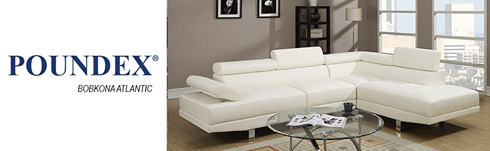 Magnificent Poundex 2 Pieces Faux Leather Sectional Right Chaise Sofa White Uwap Interior Chair Design Uwaporg