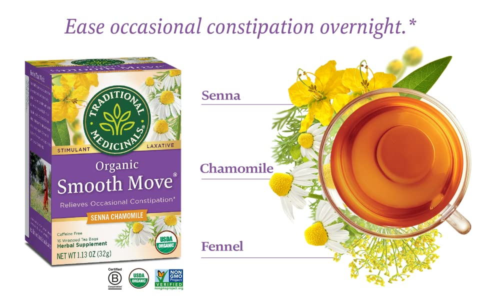 Amazon Com Traditional Medicinals Organic Smooth Move Chamomile Tea 16 Tea Bags Herbal Supplements Grocery Gourmet Food