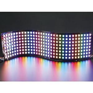 Rainbow LED lights on a flexible background