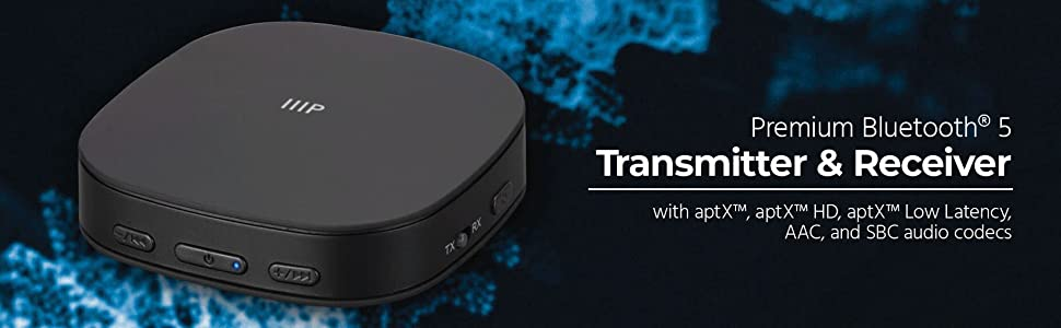 Up to 15 Hours of Audio Playback aptX Low Latency AAC Monoprice Bluetooth 5 Transmitter /& Receiver with aptX and SBC Codecs