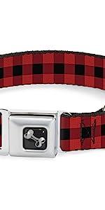 Plaid Buffalo Black Red Old School Flannel Collar Dog Pet Seatbelt
