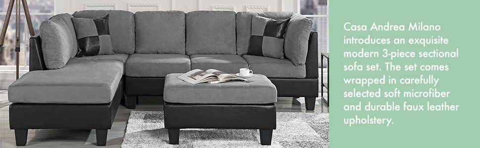 Groovy 3 Piece Modern Reversible Microfiber Faux Leather Sectional Sofa Set W Ottoman Saddle Spiritservingveterans Wood Chair Design Ideas Spiritservingveteransorg