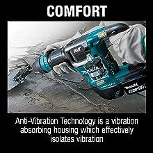 comfort anti-vibration technology AVT abosrbing housing which effectively isolates vibrations