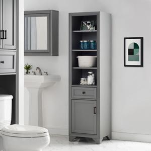 Amazon Com Crosley Furniture Tara Bathroom Linen Cabinet Vintage Gray Furniture Decor