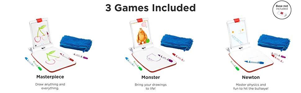 Osmo - Creative Set - 3 Hands-On Learning Games - Ages 5-10 - Creative  Drawing & Problem Solving/Early Physics - STEM - For iPad and Fire Tablet  (Osmo