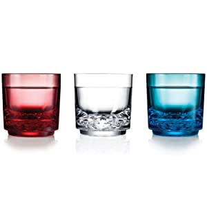 Red White and Blue Drinique Elite Rocks Glasses Made in USA