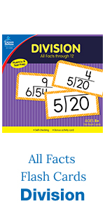 Division all facts flash cards