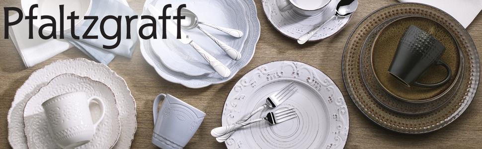 pfaltzgraff dinnerware, dinnerware, trellis, cambria, white dinner plates, dinner, place setting