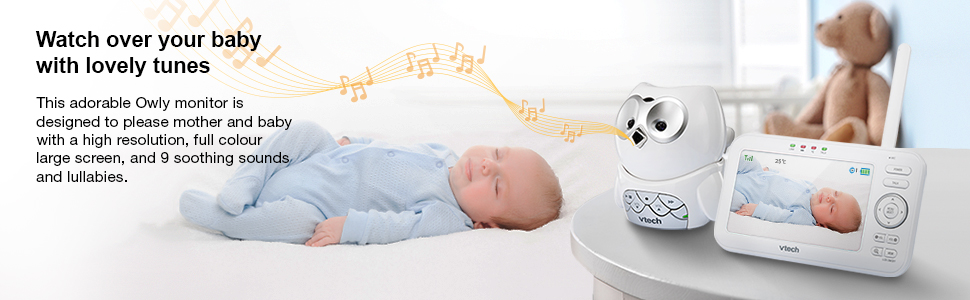high resolution, full colour large screen and 9 soothing sounds and lullabies