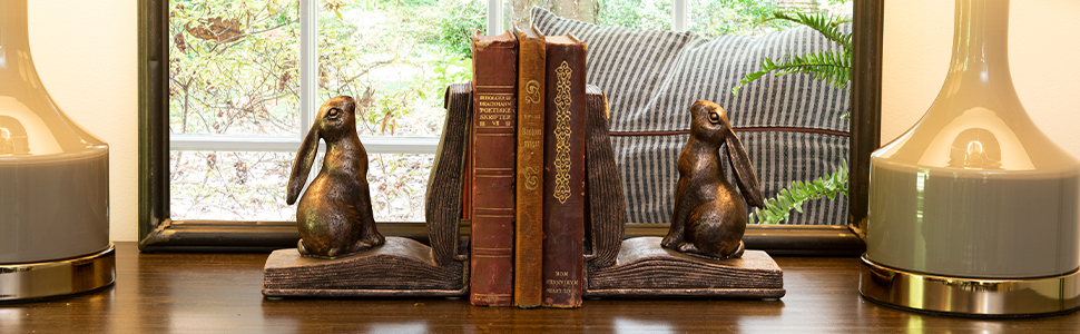 rabbit, bunny, bookends