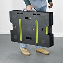 carry the keter adjustable folding work table with the carrying handles