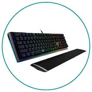 ThunderX3 AK7CHR, teclado gaming mecánico, CHERRY MX rojo, reposamuñecas, negro
