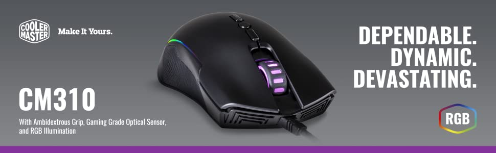 8031348a0d1 Amazon.com: Cooler Master CM310 Gaming Mouse with Ambidextrous Grips ...