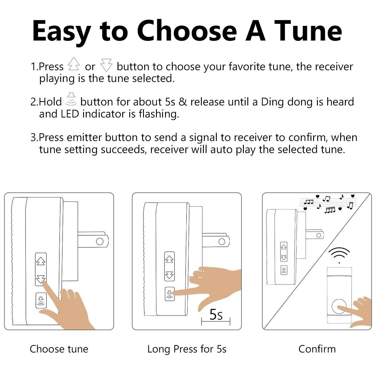 Homasy Wireless Doorbell Note Waterproof Door Bell With 1 Receiver Simple And Cheap Led Flashing Circuit How To Choose A Tune