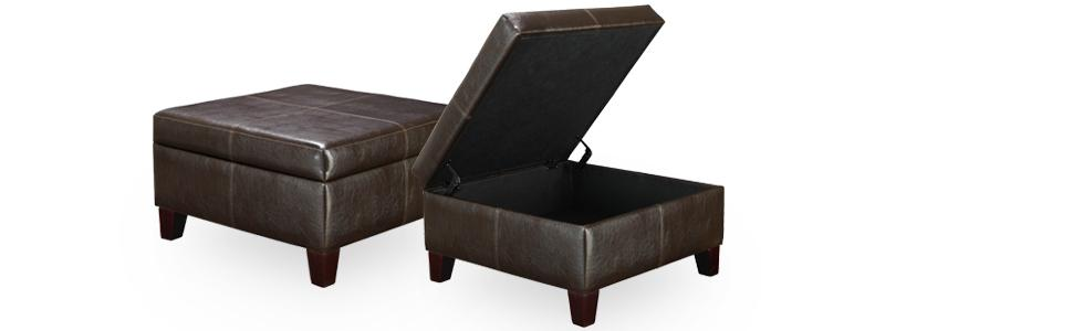 Dorel Living Faux Leather Square Storage Ottoman