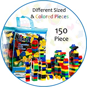 0387a47216ff Dimple 150 Piece Soft Plastic Multi Colored Building Block Set with Wheeled  Train Pieces and Carry Bag