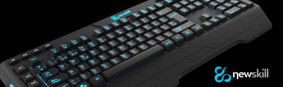Newskill seiryu - Teclado Gaming con retroiluminación RGB (Diferentes Efectos RGB, macros dedicadas, Membrana Reforzada), Negro.