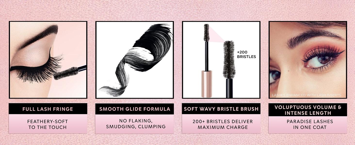 lash paradise mascarar, lengthening mascara, volumizing mascara, waterproof mascara, bristle brush