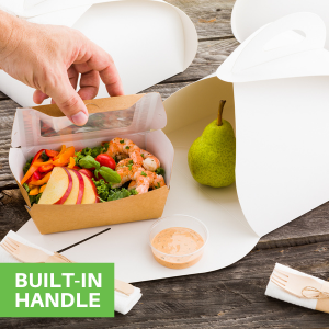 """""""The built-in handle of these paper take out boxes with handles allow you to take treats on the go."""