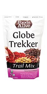 Globe Trekker Trail Mix - Organic, Plant-Based, Jungle Peanuts, Cacao Nibs, Goji Berries, Mulberries