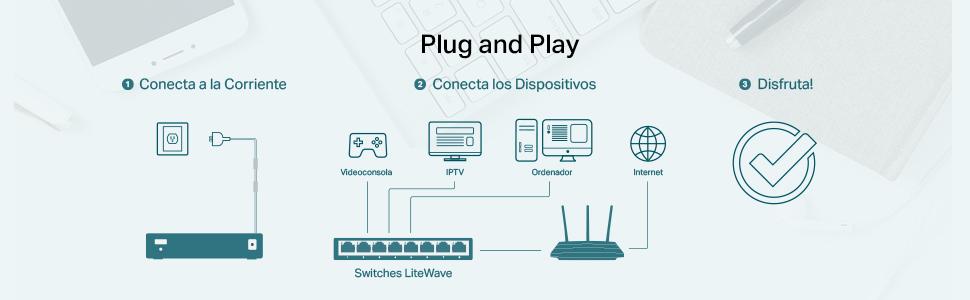 TP-Link Conmutador Fast Ethernet de 5 Puertos 10/100 Mbps, Divisor ...