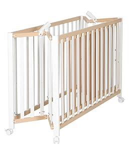 Cuna plegable roba Fold Up, cuna de 60x120 cm, cuna de haya natural/blanca, cuna ajustable a 3 alturas, ahorra espacio e incluye ruedas con frenos.: Amazon.es: Bebé