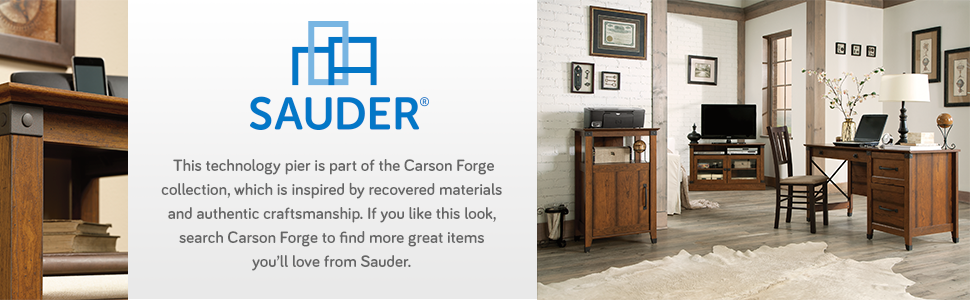 Sauder Carson Forge Technology Pier Free Standing Cabinet