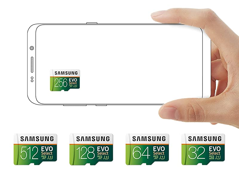 Choose from Samsung 512 GB, 256 GB, 128 GB, 64 GB or 32 GB EVO Select Memory Card