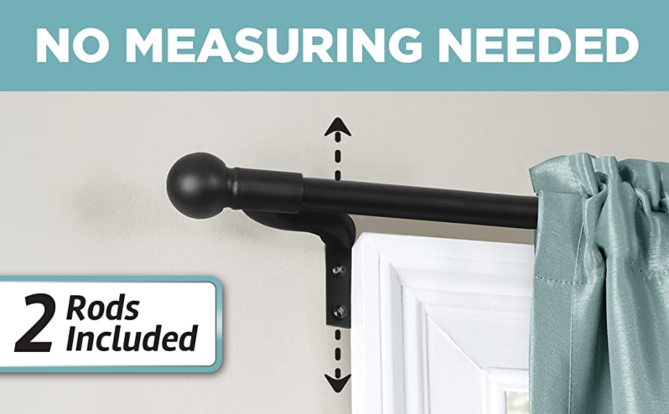 2-Pack of Rods 48 to 120 in Smart Measuring Easy Install Adjustable Caf/é Window Brushed Nickel Zenna Home with Ball Finials