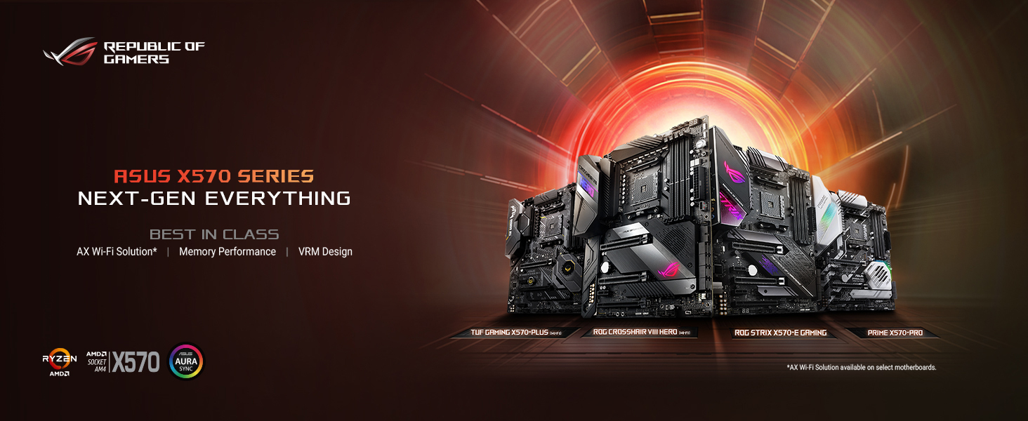 AMD X570 ATX gaming motherboard with PCIe 4.0, on-board Wi-Fi 6 (802.11ax), 2.5 Gbps LAN, USB 3.2,