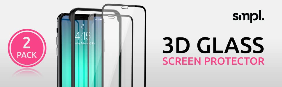 smpl 2 pack 3d glass screen protector