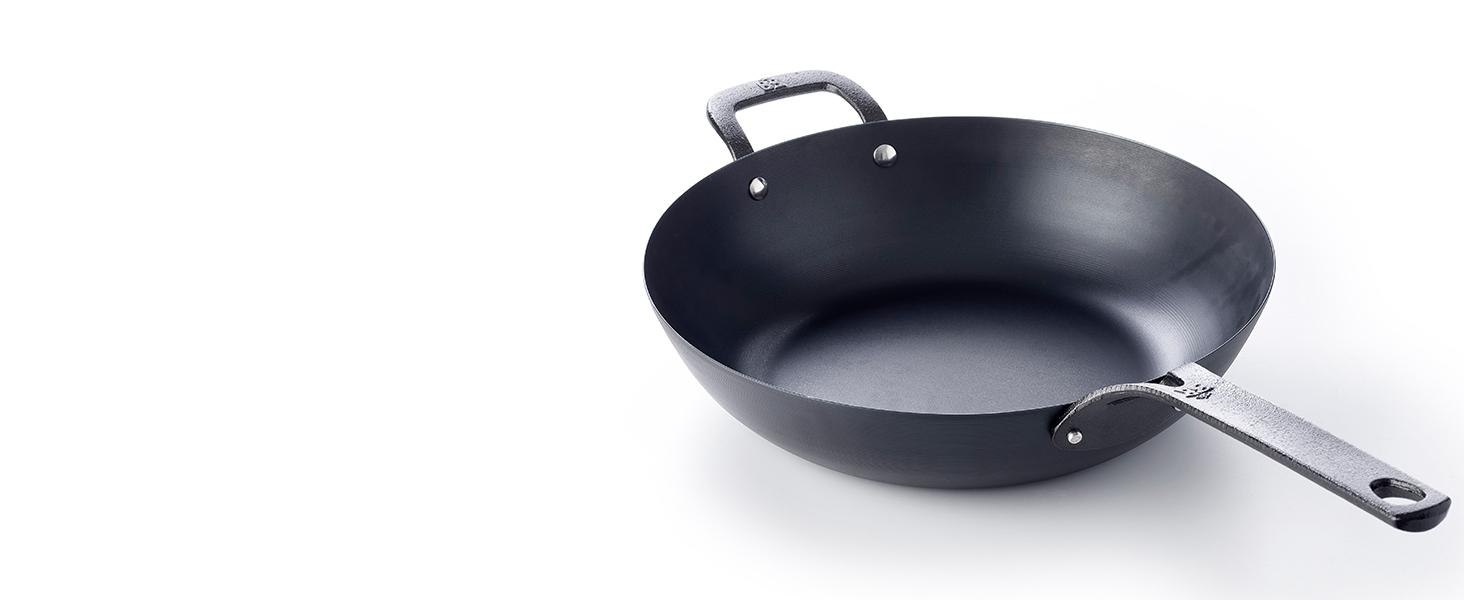 BK carbon steel wok, black steel, cast iron, durable, tough, helper handle, nonstick, versatile