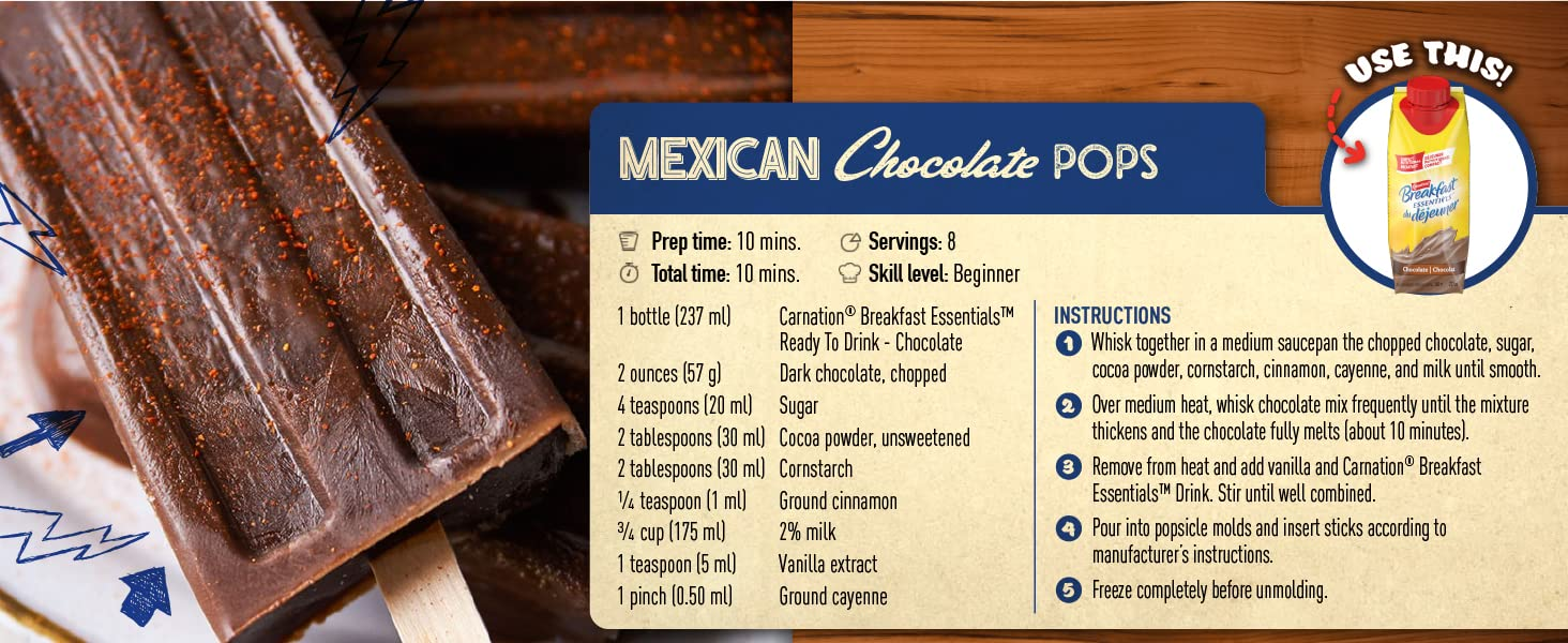 mexican chocolate pops carnation breakfast essentials