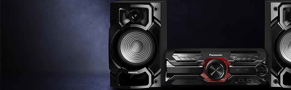Panasonic SC-AKX320 - Equipo de Sonido de Alta Potencia para el hogar (450W, 16 cm Woofer, 6 cm Tweeter, Bluetooth, USB Dual, CD, AUX, DJ Jukebox, Función DJ, Hi-Fi, Sonido Nítido) Color