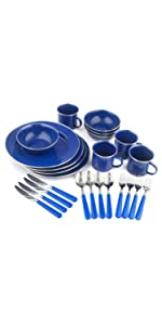 24 Piece Enamel Camping Tableware