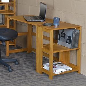 bookcase, student desk, medium oak, natural, oak wood, wood bookcase