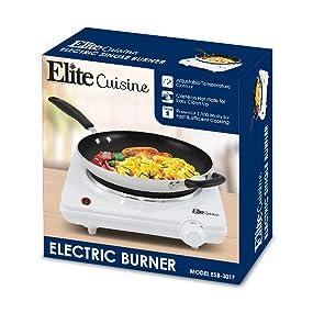 Elite Cuisine ESB-301F Single Electric Flat Cast Iron Heating Plate Burner,  Power Indicator Light, 1000 Watts, White