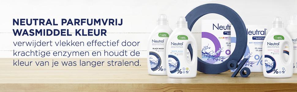 0% uitsnijding in blauw en Neutral producten inclusief Neutral Wit wasmiddel, op een houten plank