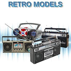 QFX Retro Radio Cassette AM/FM Player USB Bluetooth Recorder Speaker