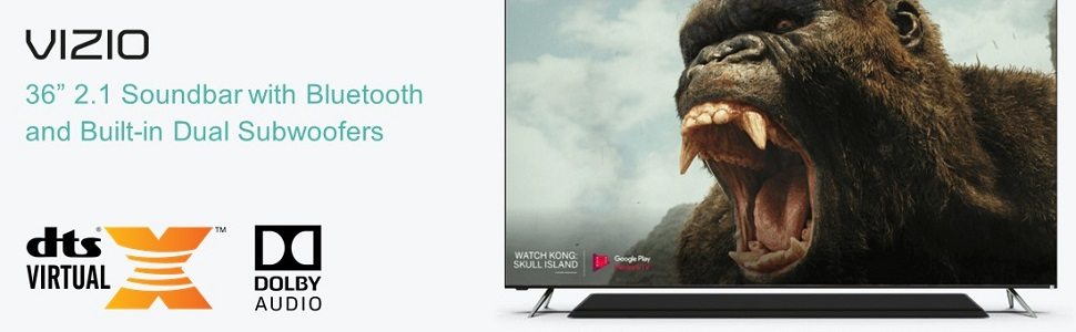 """Vizio 36"""" Soundbar 2.1 Channel with Bluetooth and Built-in Dual Subwoofers"""